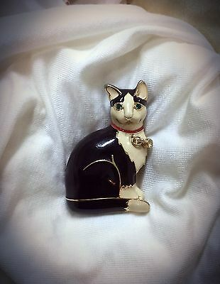 Big Enamel Cat Pin Brooch Black & White Enamel Red Collar Green Rhinestone Eyes