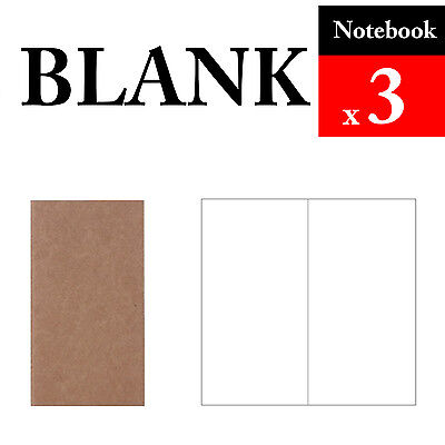 3 x Notebook Blank Refills Vintage Travel Journal Notebook Paper Diary