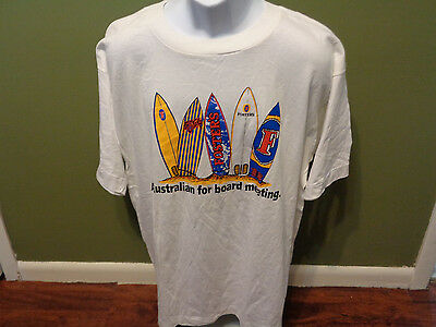 RARE VINTAGE FOSTERS BEER White T-shirt, Australia SURFBOARDS ADULT XL