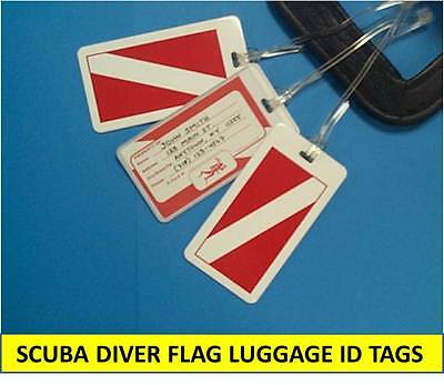 DIVER FLAG, SCUBA DIVER LUGGAGE ID TAG with BUSINESS CARD INSERT & LOOP STRAP