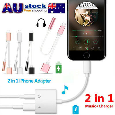 2 in 1 Lightning to 3.5mm Earphone Adapter Audio Charger Cable For iPhone 7 Plus