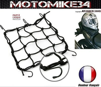 Filet de bagage transport casque pour moto scooter quad  6 crochets (25 x 25 cm)