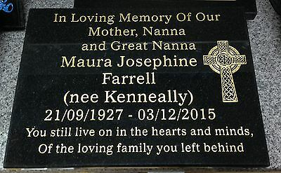Personalied Sanblasted Granite Memorial Grave Plaque Any Wording Included