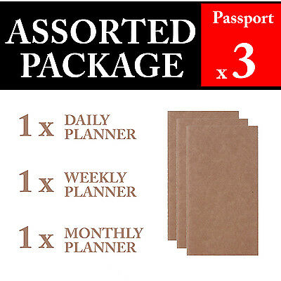 3 x Passport Assorted Package Refills Vintage Travel Journal Notebook Diary