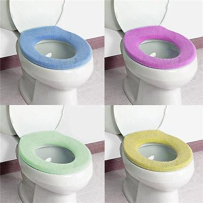 5X WC Cloth Super Soft Toilet Washable Bathroom Warmer Seat Lid Cover Pads New