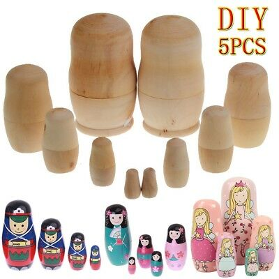 5pcs DIY Blank Paint Russian Girls Nesting Dolls Babushka Matryoshka Kids Gift
