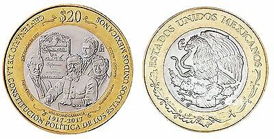 Mexico 20 Pesos, 16 g Bi-Metallic Coin, 2017, Mint, Constitution of 1917