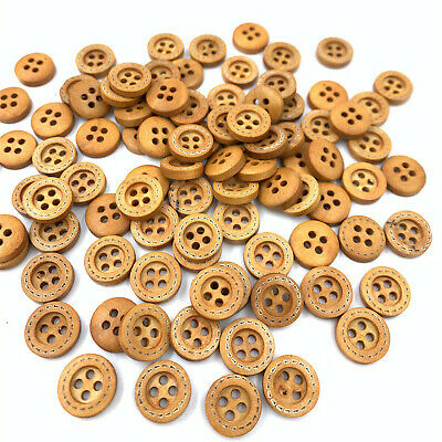 DIY 200X Wood Buttons Sewing  4 Holes Round Brown 12mm Dia Clothing accessories