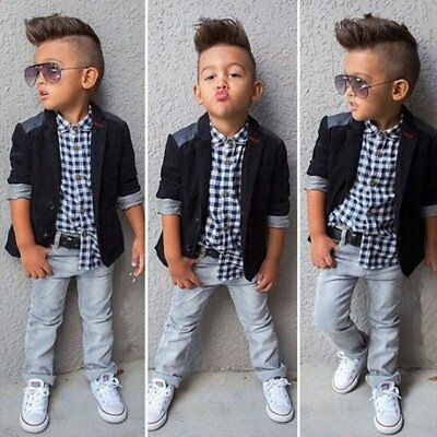 Outfits Sets ! 3 PCS Baby Boy Gentleman Suit + Shirt + Trousers Kids Clothes