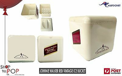 "Johnnie Walker RED Label  Vintage 1970's Ice Bucket 7"" Cream EX' Cond Made in UK"