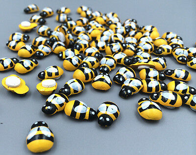 DIY 50-100pcs Wooden 3D art Bee - animal fridge magnet Wall Stickers 13mm * 9mm