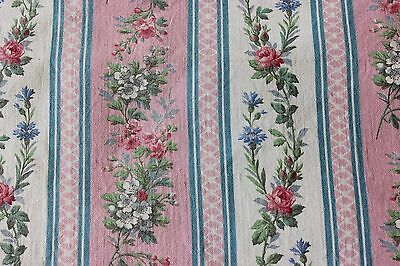 Antique c1880 French Home Cotton Pink Rose Print Fabric Textile Yardage~Quilters