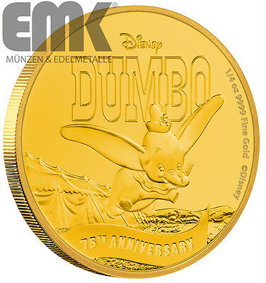 Niue - 25 Dollar 2016 - Dumbo - 75 Jahre - Disney - 1/4 Oz. Gold in PP
