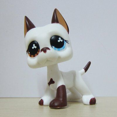 Hasbro Littlest Pet Shop Collection LPS #577 White Brown Great Dane Dog Toys