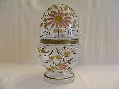 Vintage Clear Glass With Painted Design Decanter - Cordial Set