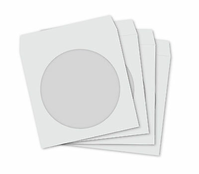 100 White Paper CD DVD Disc Sleeves Case Cover with Window
