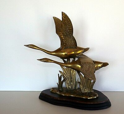 Brass Geese Statue / Figurine on Wood Base, 1 Wing Span Measures 9 3/4""