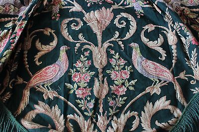 Lovely Antique French Bird Block Printed Cotton Fabric Textile Valence c1860-70