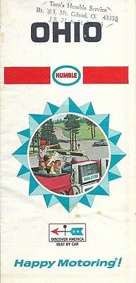 1968 HUMBLE OIL Road Map OHIO Cleveland Cincinnati Columbus Dayton Mount Gilead