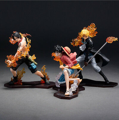 One Piece Luffy Ace Sabo 3 PCS Brotherhood  Flaming Battle Ver PVC Figure w/ box