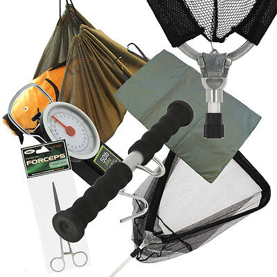 NGT Carp Fishing Set Folding Net & Sling Unhooking Mat Scales Forceps Weigh Bar
