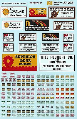 HO 1/87 Microscale MS-87-273 Industrial Signs Decals