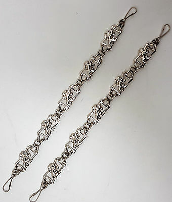 Chrome Sporran Chains Thistle or Lionheart Design with Adjustable Leather Straps
