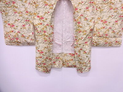 Vintage Japanese Kimono, Antique Haori / Unused / Butterfly & Floral Plants