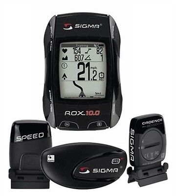 Sigma ROX 10.0 GPS Black BUNDLE ANT+ Speed & Heart Rate & Cadence, Bike Computer