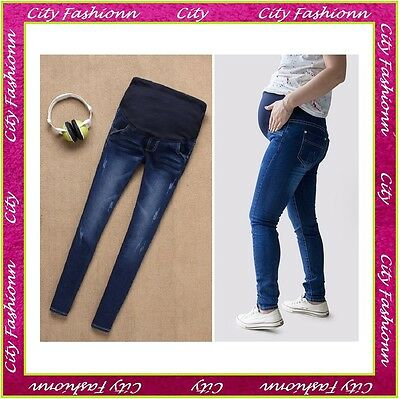 Maternity Skinny Jeans Pregnancy Trousers Wear Clothes Size 8 10 12 14 16 - MJ06