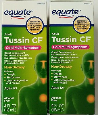 Equate Adult Tussin Cf Non Drowsy Two 4 Oz Bottles Compare To