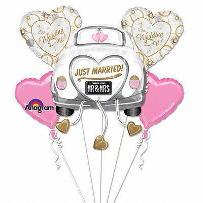 Just Married Wedding Car Assemble Balloon Bouquet Party Decorations