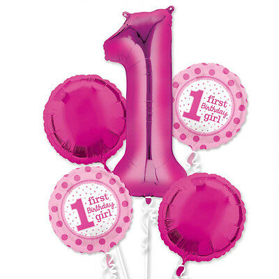 1st Birthday Girl Balloon Bouquet Party Decorations