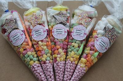 20 x Pre filled Kids Christening Sweet party cone Bags free postage