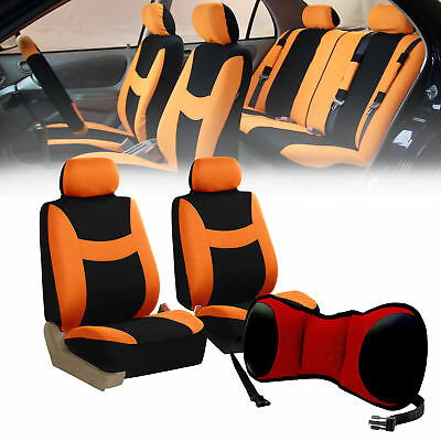 Car Front Bucket Seat Covers w/Red Seat Cushion Pad combo Auto Car Orange