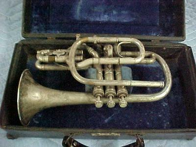 "Antique Lyon & Healy ""Duplex"" Own Make"" Bb/A Cornet 1904 Heavily Engraved"