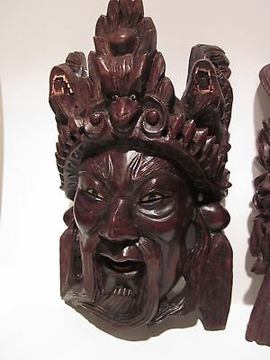 """10"""" Vintage Asian Chinese Emperor & Dragons Hand Carved Wood Mask Rosewood"""