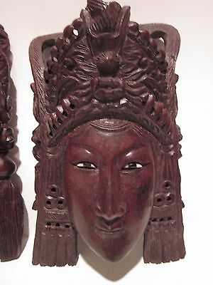"""10"""" Vintage Asian Chinese Empress with Headress Hand Carved Wood Mask Rosewood"""