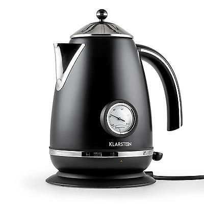 Cordless Water Kettle Fast Boiler 2200W 1.7L Stainless Steel Matte Black Jug
