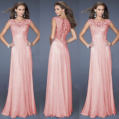 New Lace Bridesmaid Prom Ball Gown Formal Evening Party Cocktail Long Maxi Dress