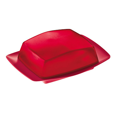BUTTER DISH - WITH LID -  RIO  - MODERN - Raspberry Red
