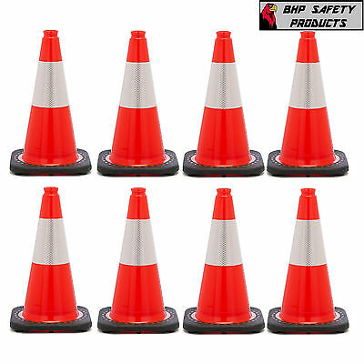 18 Inch Orange Safety Traffic Cone Black Base W/ 3M Reflective Collar (8 Pack)