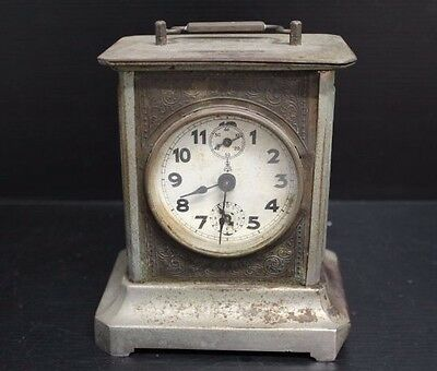 """Vintage Metal Carriage Clock (Sold As Is), 6"""" Tall"""