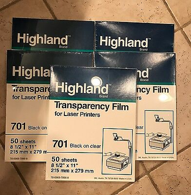 Highland 701 Transparency 50 Sheets Clear 8 1/2 x 11 laser printers NEW Sealed