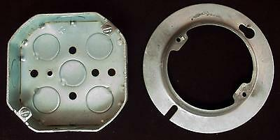 Lot of 4 Electrical Metal Raised Ceiling Ring Covers & 3 4x4 Boxes