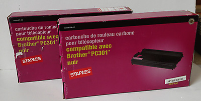 NIB ~ Lot of 2 Compatible Brother PC301 Staples Fax Ribbon Cartridges, Black