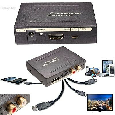 1080P HDMI to HDMI+Optical SPDIF+RCA L/R Audio Extractor Converter Splitter BLLT