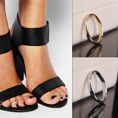 Gold or Silver Plated Alloy Glossy Circle Toe Ring Jewelry Adjustable UK SELLER