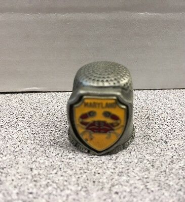 Vintage Pewter Sewing Thimble from Maryland Crabs Souvenir