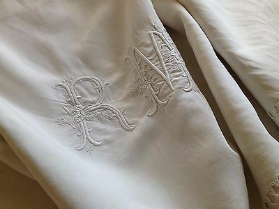 "Antique French Linen Sheet - Curtain - Drape - Large Monogram ""rm"" - Threadwork"